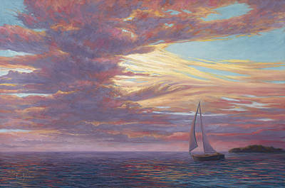 Sailboats Painting - Sailing Away by Lucie Bilodeau