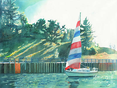 Painting - Sailing Back To Port, Sail Boat Paintings, Sail Boat Prints, Sailing, Pentwater, Michigan, Lakes by LeAnne Sowa