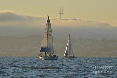 Sailboat In The Fog Digital Art - Sailing Below Sutro by Jeff Regan