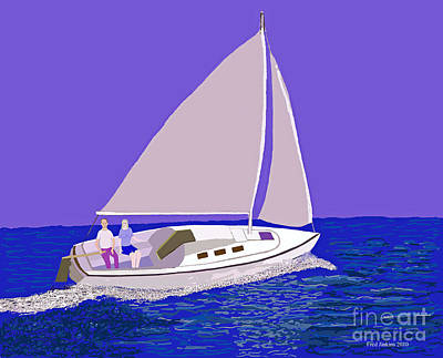 Galveston Painting - Sailing Blue Ocean by Fred Jinkins