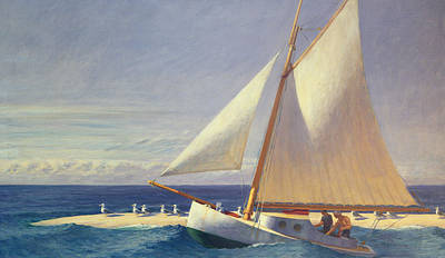 Seagulls Painting - Sailing Boat by Edward Hopper