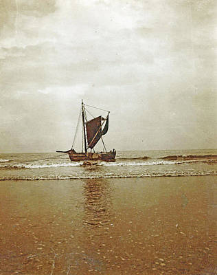 Sailing Boat In Shallow Water On The Coast Art Print