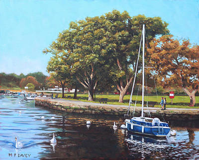 River Stour Painting - Sailing Boats And Yachts On The River Stour Christchurch by Martin Davey