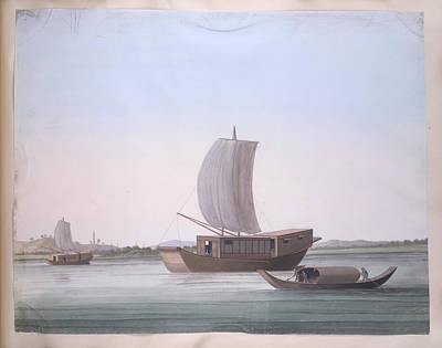 Gouache Photograph - Sailing Boats by British Library