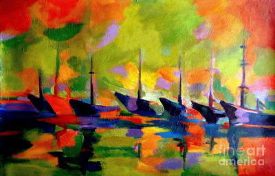 Sailing Boats By The River Art Print by Helena Wierzbicki
