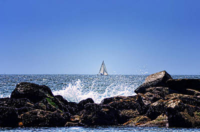 Ocean Side Digital Art - Sailing By by Camille Lopez