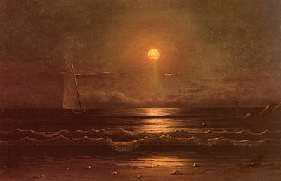 Sailing By Moonlight Print by Martin Heade