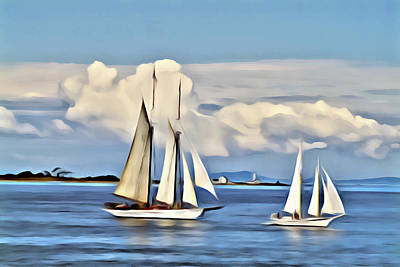Digital Art - Sailing By Point Wilson by Patrick M Lynch