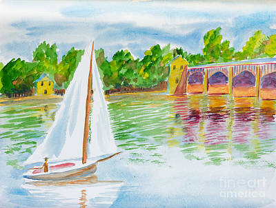 Painting - Sailing By The Bridge by Walt Brodis