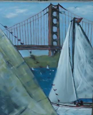 Sanfrancisco Painting - Sailing By The Golden Gate by Debbie Wassmann