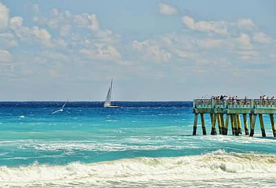 Sailing By The Pier Art Print by Don Durfee