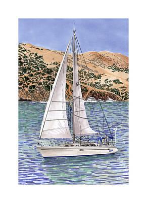 Sailboats Drawing - Sailing Catalina Island Sailing Sunday by Jack Pumphrey