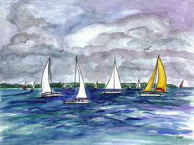 Bayville Painting - Sailing Day by Clara Sue Beym