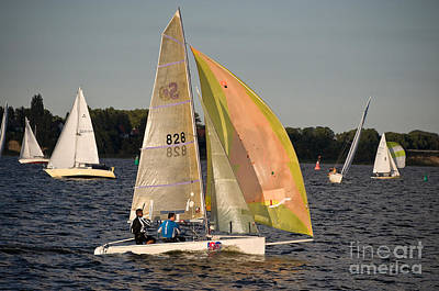 Photograph - Sailing Dinghy At Stralsund Regatta Germany by David Davies
