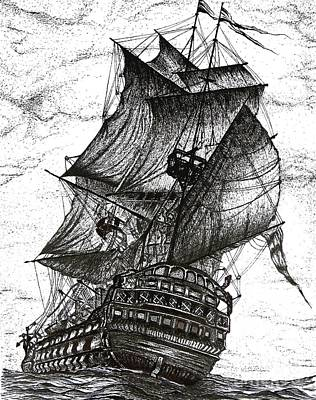 Drawing Drawing - Sailing Drawing Pen And Ink In Black And White by Mario Perez