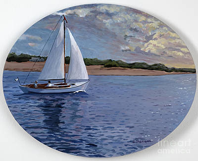 Maine Seacoast Painting - Sailing Homeward Bound by Stella Sherman