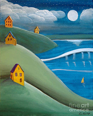 Painting - Sailing In The Moonlight by Lee Owenby