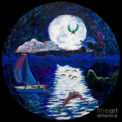 Painting - Sailing In The Moonlight by Walt Brodis