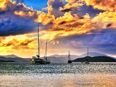Sailing In The Sunset Art Print by Emily Eisenberg