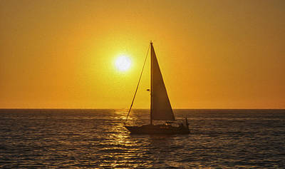Sailing Into The Sunset Art Print by Aged Pixel