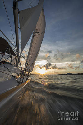 Sunset Sailing Photograph - Sailing Into The Sunset Charleston Sc by Dustin K Ryan
