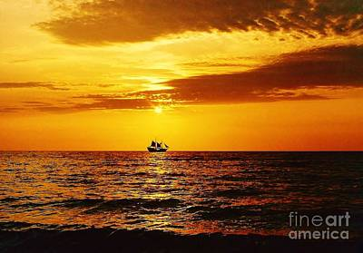Sunset Photograph - Sailing Away Into The Sunset by D Hackett
