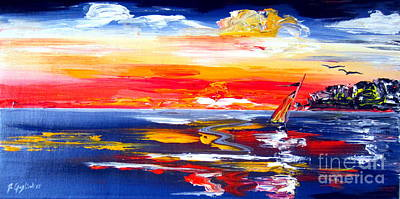 Painting - Sailing Into The Sunset In Australia by Roberto Gagliardi