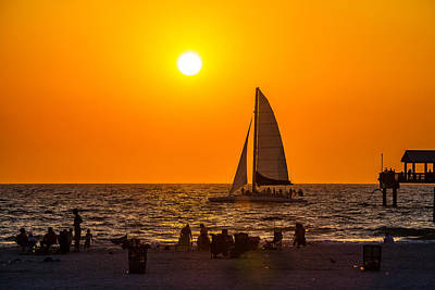 Beach Photograph - Sailing Into The Sunset by Jeff Donald