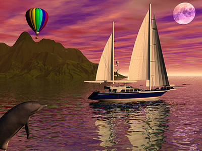 Sailing Into The Sunset Art Print by Michele Wilson