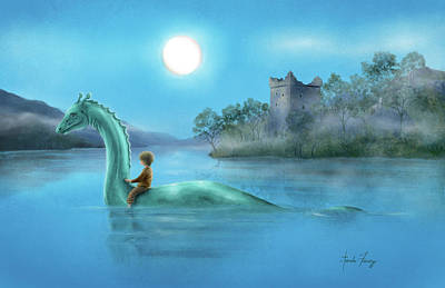 Sailing Nessie Art Print by Amanda Francey