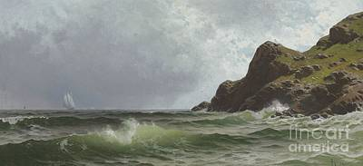 Rugged Hills Painting - Sailing Off The Coast by Alfred Thompson Bricher