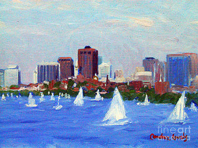 Cambridge Painting - Sailing On The Charles by Candace Lovely