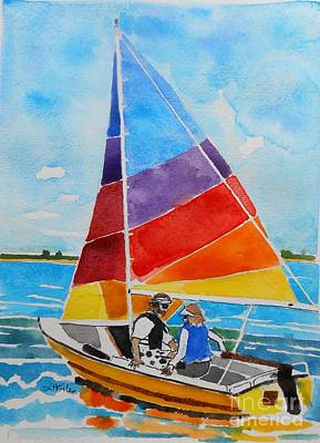 Cambridge Painting - Sailing On The Choptank by Lesley Giles