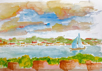 Painting - Sailing On The River by Walt Brodis