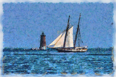 Sailing Past Whaleback Lighthouse Art Print by Jeff Folger