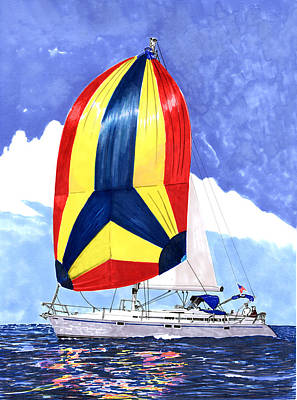 Painting - Sailing Primary Colores Spinnaker by Jack Pumphrey