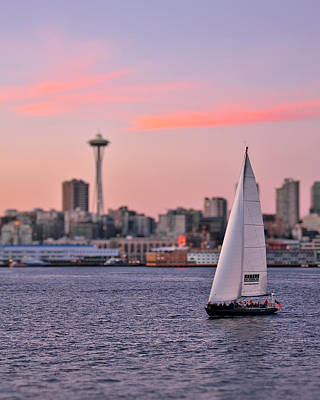 Seattle Skyline Photograph - Sailing Puget Sound by Adam Romanowicz