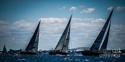 Photograph - Sailing Race Start by Ronald Grogan