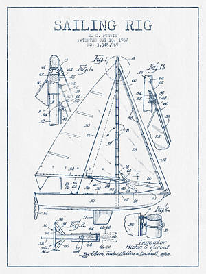 Sailing Rig Patent Drawing From 1967  -  Blue Ink Art Print