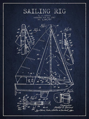 Sailboat Art Drawing - Sailing Rig Patent Drawing From 1967 by Aged Pixel