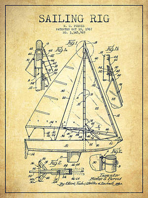 Sailboat Art Drawing - Sailing Rig Patent Drawing From 1967 - Vintage by Aged Pixel