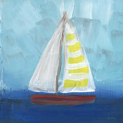 Abstract Landscape Painting - Sailing- Sailboat Painting by Linda Woods