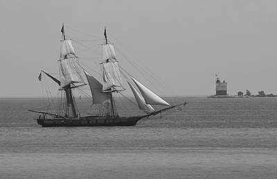 Sailing Ship And Lighthouse Art Print by Dan Sproul