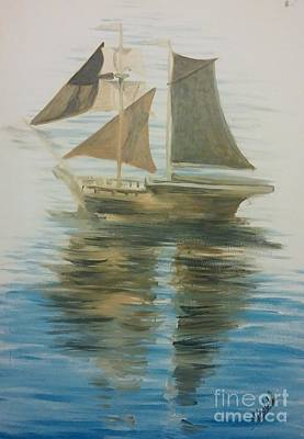 Historic Schooner Painting - Sailing Ship by Isabella F Abbie Shores FRSA