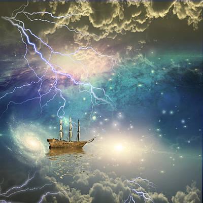 Art Print featuring the digital art Sailing Ship Sails Through The Stars by Bruce Rolff