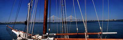 Sailing Ship With Bridge Art Print