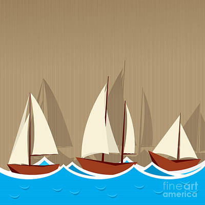 Toy Boat Digital Art - Sailing Ships Background by Richard Laschon