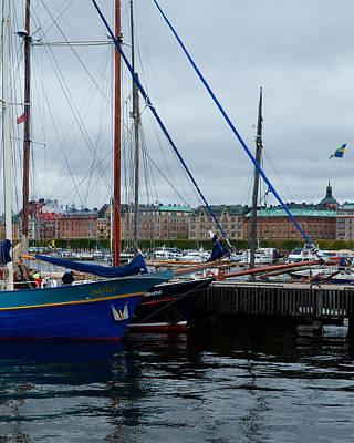 Photograph - sailing ships front of Strandvagen by Evgeny Lutsko