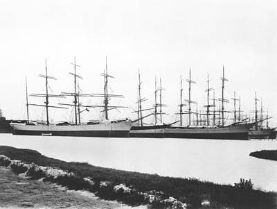 Sailing Ships In A Harbor Art Print