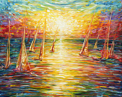 Painting - Sailing Sunset by Pete Caswell
